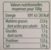 Knacks BIO 160g - Nutrition facts - fr