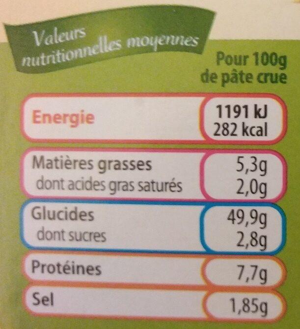 Pâtes à Flammekueche et à tartes fines - Informations nutritionnelles - fr