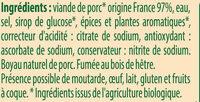 Saucisses fumées Bio - Ingrédients - fr