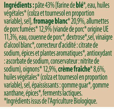 Flammekueche bio X2 fromage blanc allumettes oignons - Ingrédients - fr