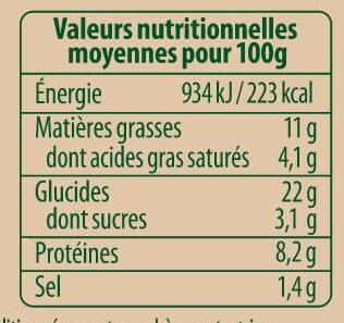 Flammekueche bio X2 fromage blanc allumettes oignons - Informations nutritionnelles - fr