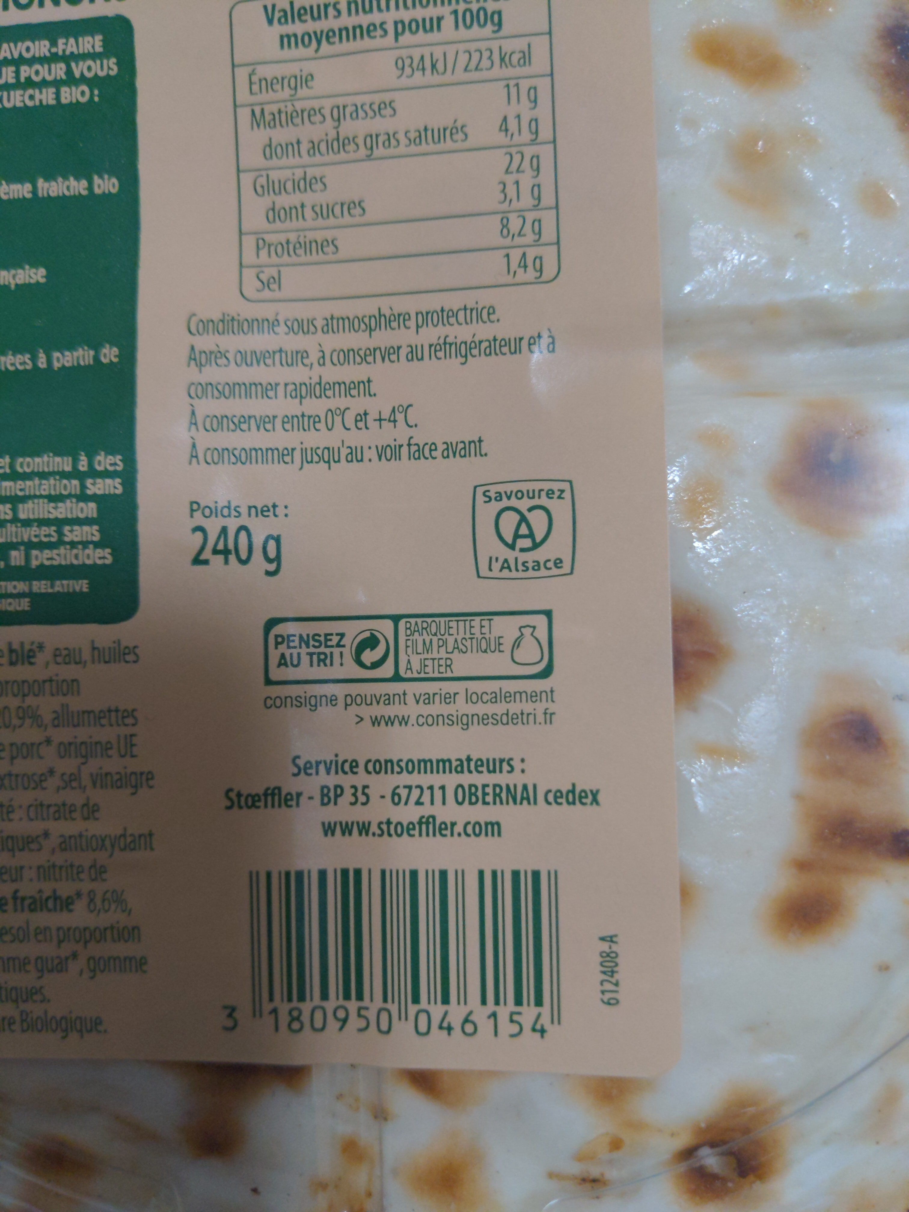 Flammekueche bio X2 fromage blanc allumettes oignons - Instruction de recyclage et/ou informations d'emballage - fr