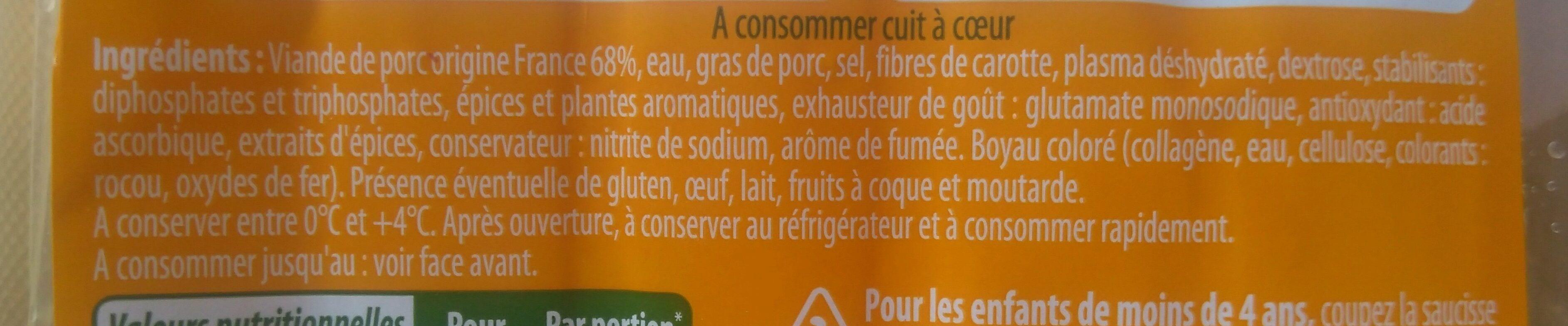 Stoeffler saucisse de francfort 2x6 - Ingredients - fr