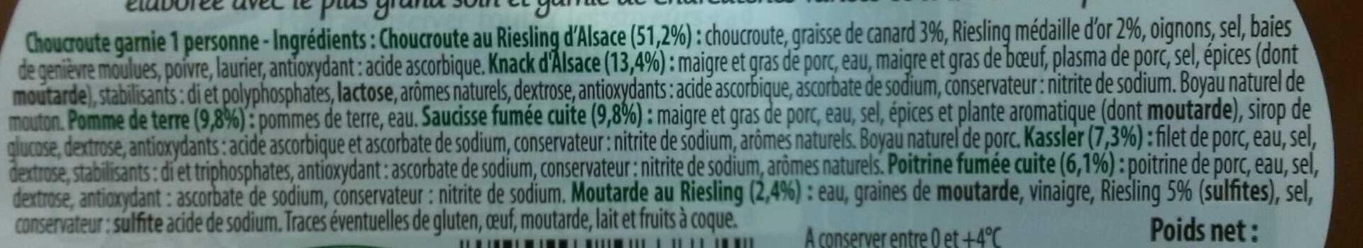 Mon moment choucroute - Ingrédients - fr