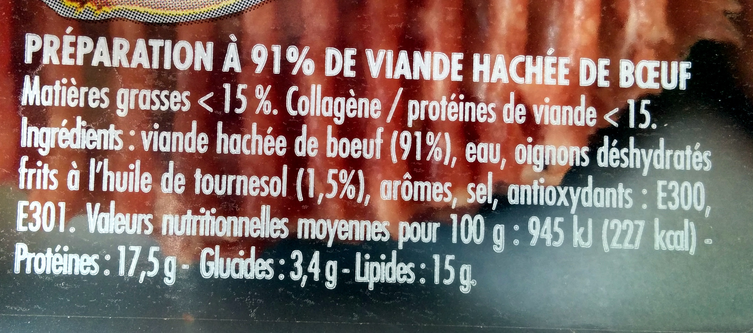 Steaks Hachés Assaisonnés Oignon - Ingredients - fr