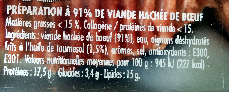 Steaks Hachés Assaisonnés Oignon - Nutrition facts - fr