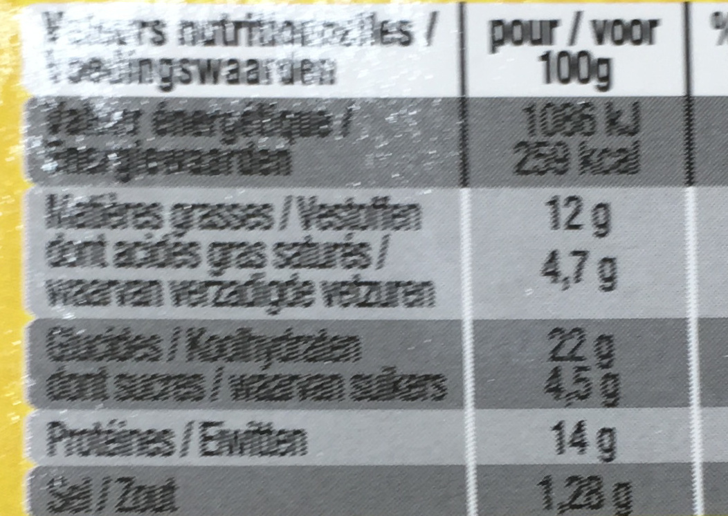 Bacon Burger - Informations nutritionnelles