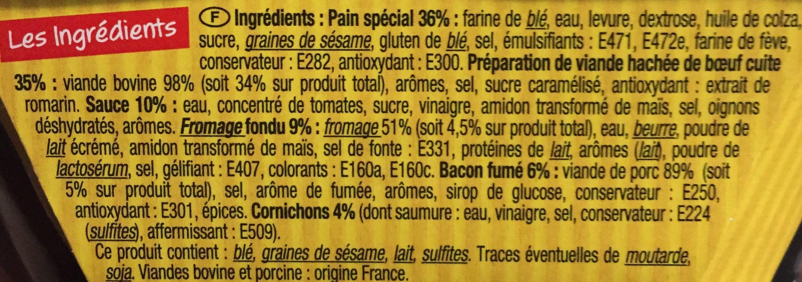 2 Bacons Burger - Ingrédients - fr