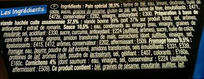Cheese Burger - Ingredients