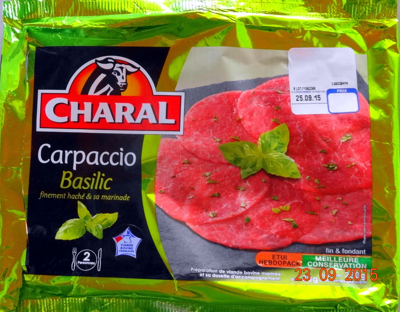 Carpaccio, Basilic finement haché & sa marinade - Product