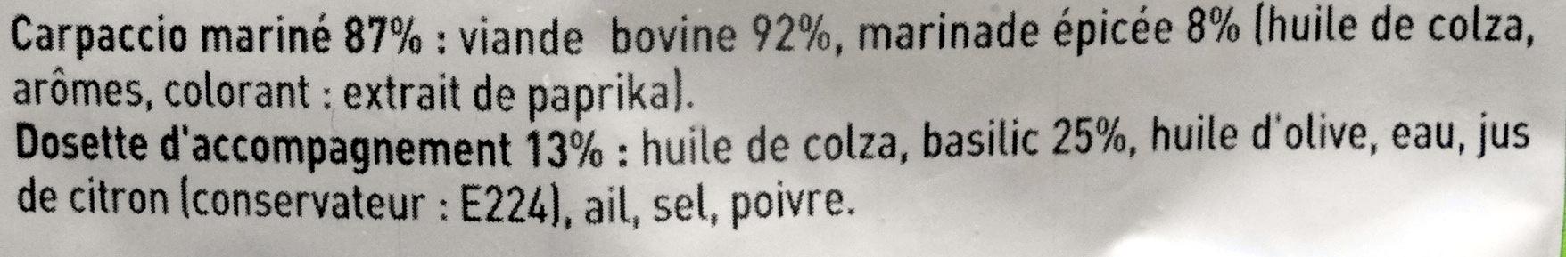Carpaccio, Basilic finement haché & sa marinade - Ingrédients
