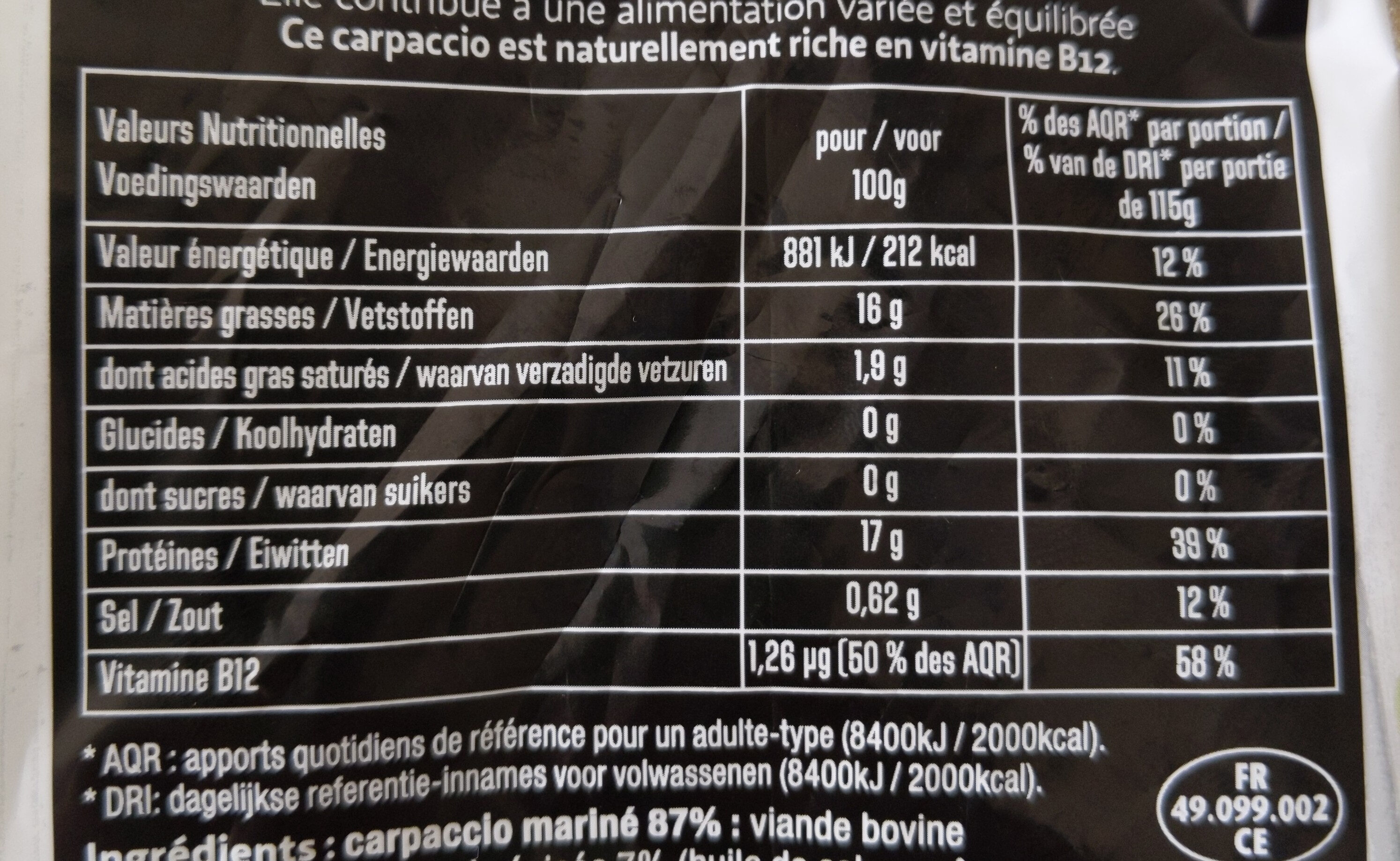 Carpaccio, Basilic finement haché & sa marinade - Informations nutritionnelles - fr
