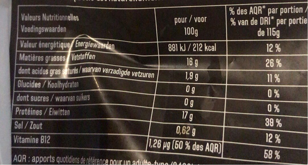 Carpaccio & sa marinade au Basilic - Nutrition facts - fr