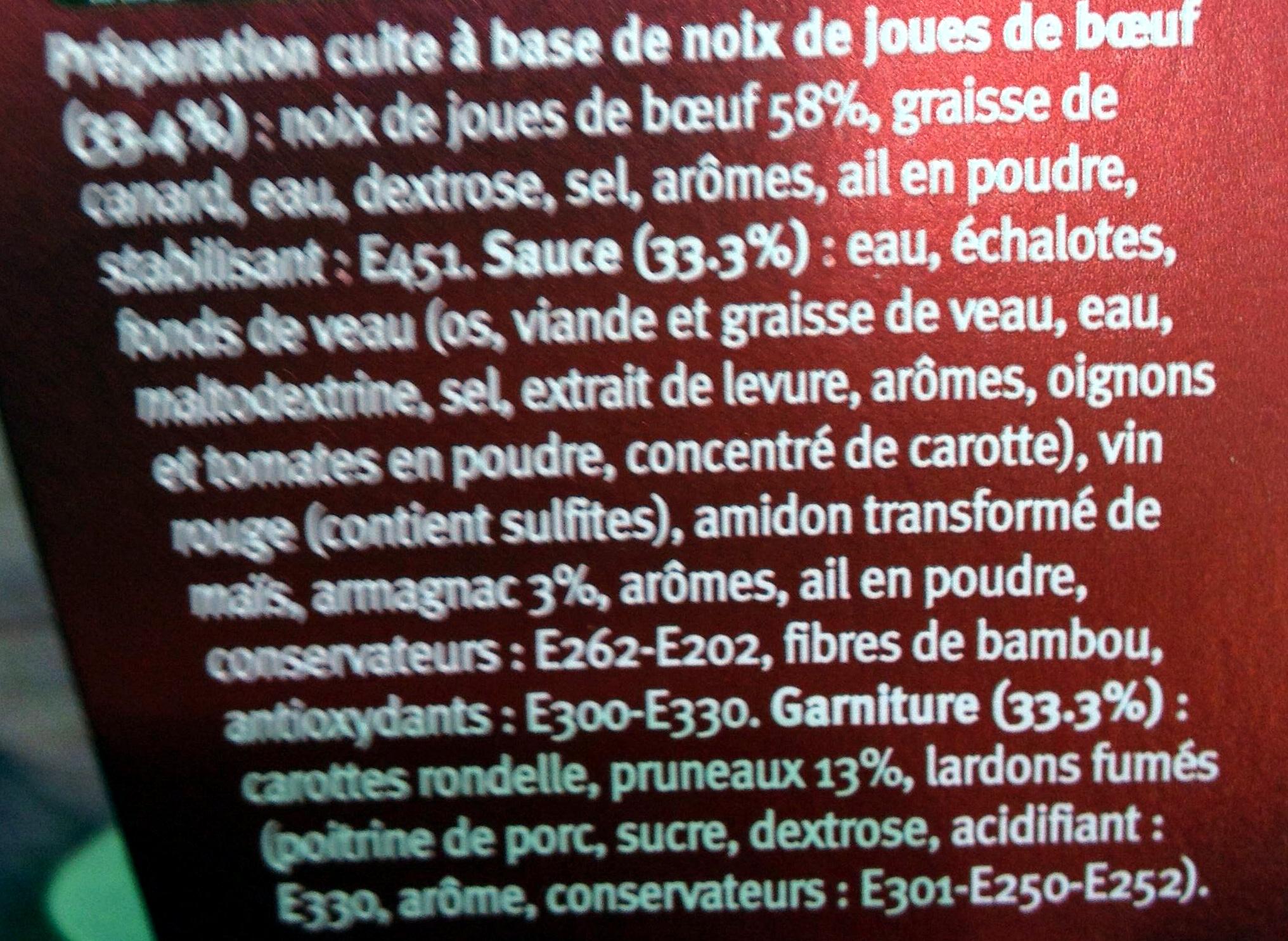 Mijoté au boeuf & pruneaux sauce à l'Armagnac - Ingredients