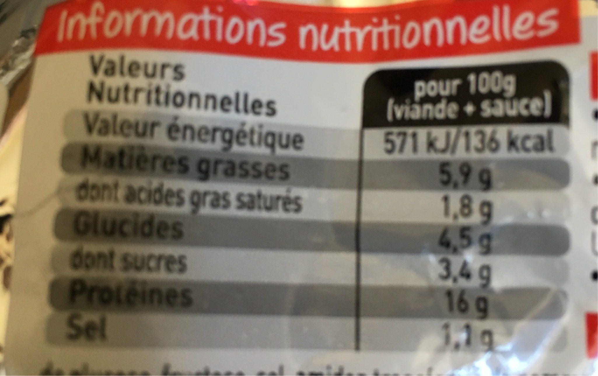 Tartare - Nutrition facts
