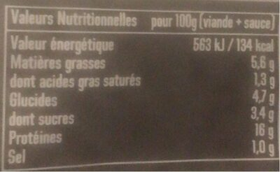 Tartare - Nutrition facts - fr