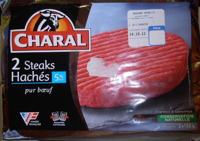 2 Steaks Hachés pur Bœuf 5% de M.G. - Produit - fr