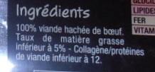 2 Steaks Hachés pur Bœuf 5% de M.G. - Ingrédients - fr