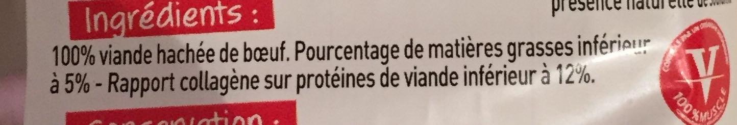 Petit appétit 2 steaks hachés 5% pur boeuf - Ingrédients - fr
