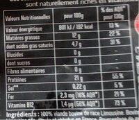 2 Steaks Hachés l'atelier race limousine - Informations nutritionnelles - fr
