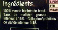 2 Steak Hachés 15% MG - Ingredients