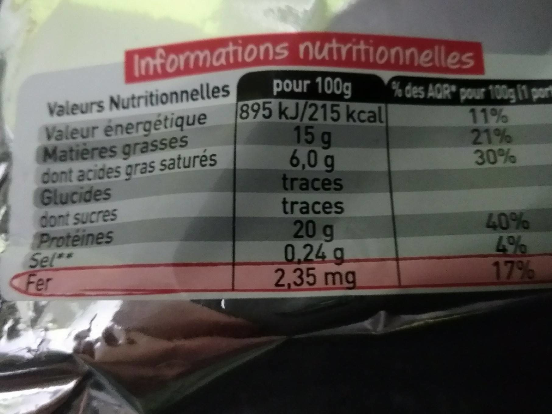 Bifteck Haches 6 - Nutrition facts