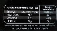 Le spécial à la tomate - Nutrition facts