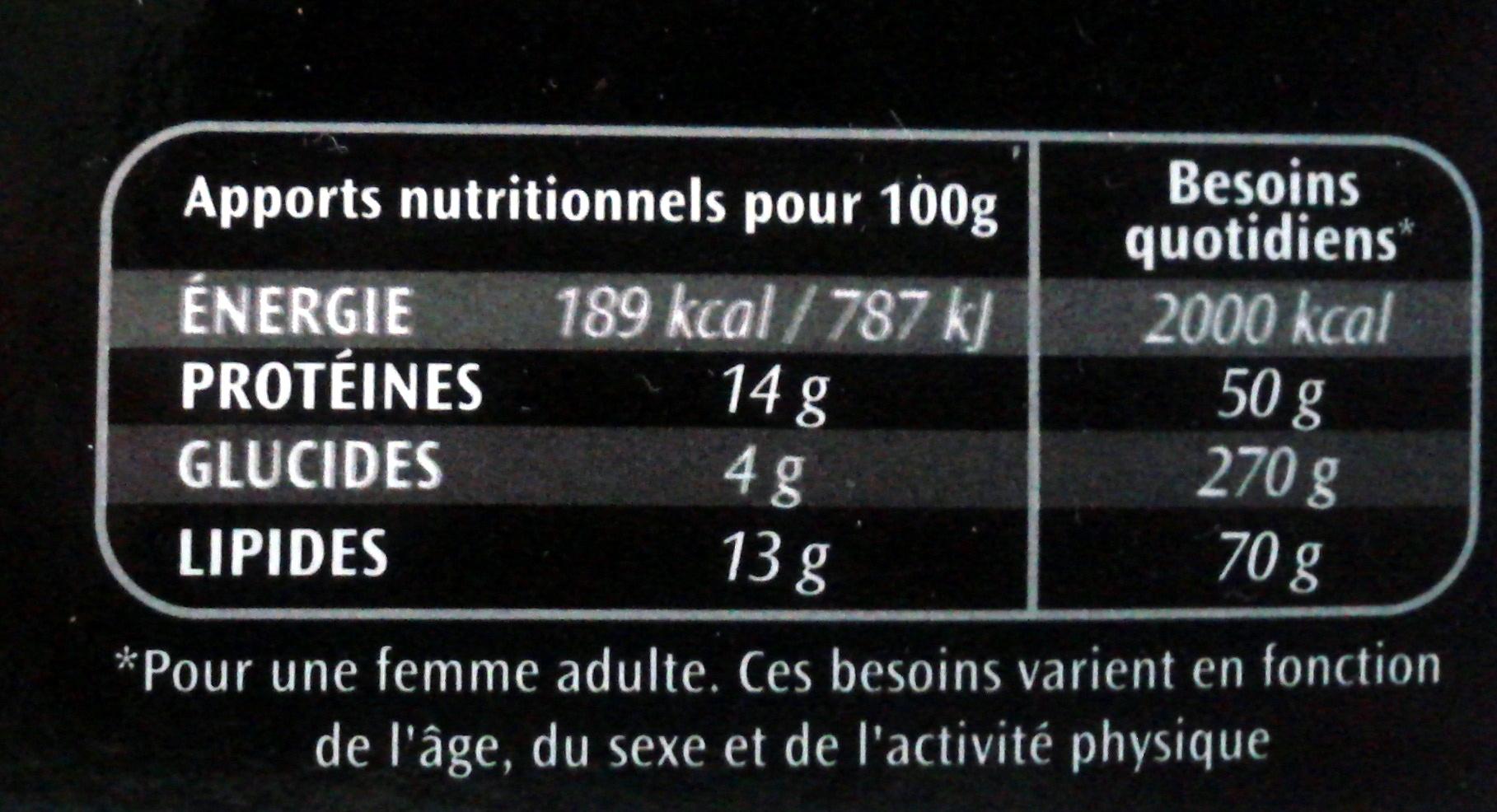 Le spécial à la tomate - Informations nutritionnelles - fr