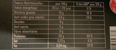 Steak haché Charal authentique - Informations nutritionnelles - fr