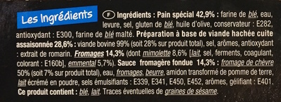 Panini Boeuf saveur 3 Fromages - Ingrediënten