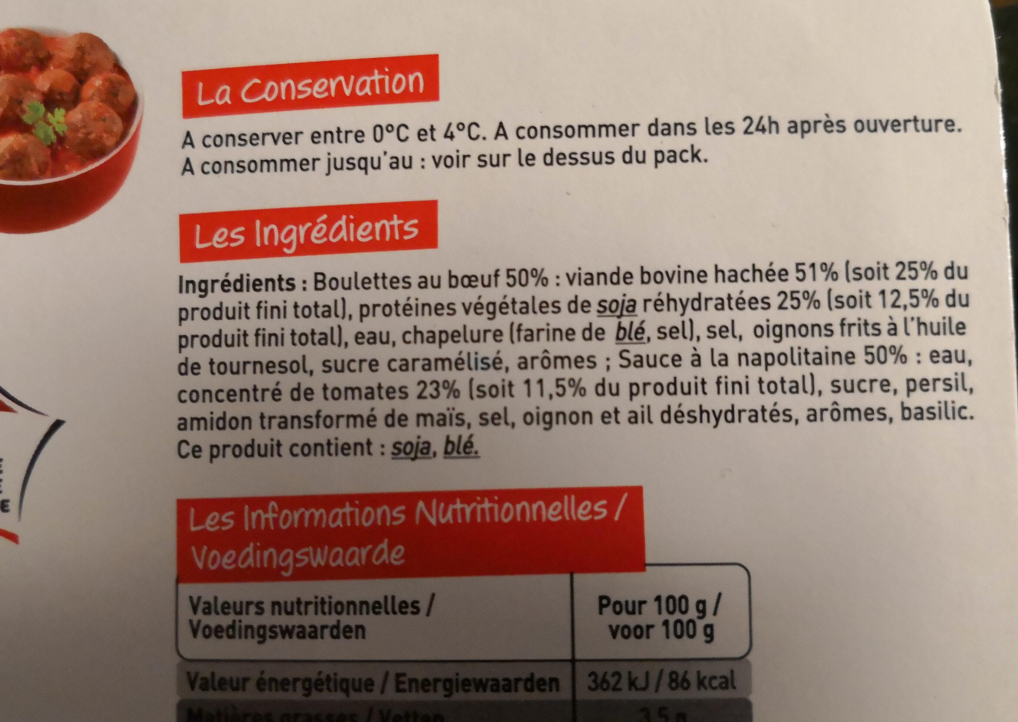 Boulettes de boeuf à la Napolitaine - Ingrédients - fr