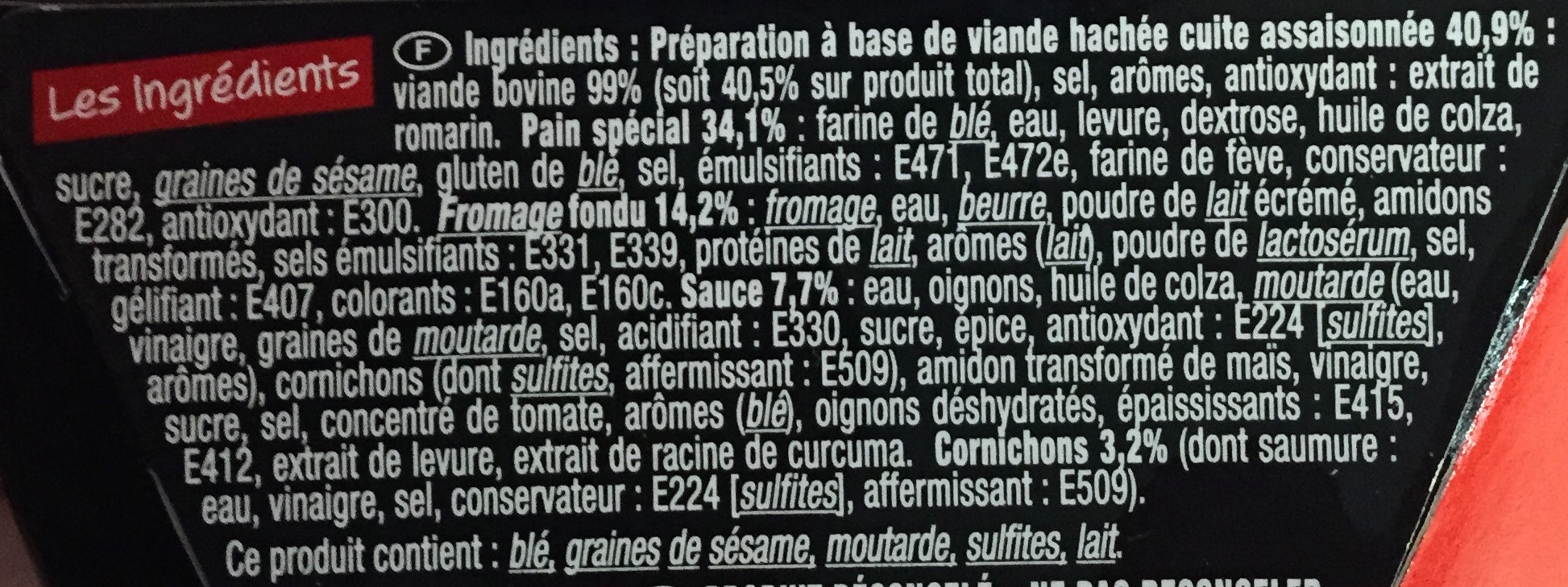 Le Big Burger - Ingredienti - fr