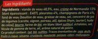 Fondant de Veau Crème de Normandie, Pleurotes et Champignons de Paris - Ingrediënten - fr