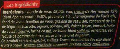 Fondant de Veau Crème de Normandie, Pleurotes et Champignons de Paris - Ingrédients - fr