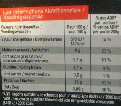 Fondant de Veau Crème de Normandie, Pleurotes et Champignons de Paris - Voedingswaarden - fr