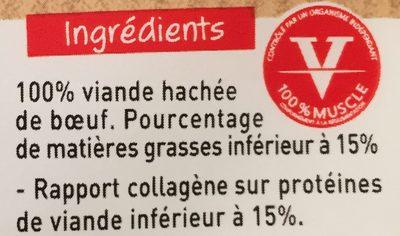 5×120 g steaks hachés Charal pur bœuf 15 % - Ingrédients - fr