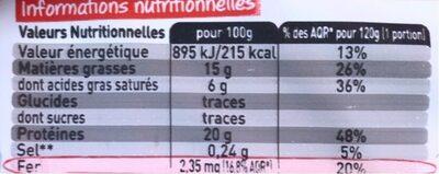 5×120 g steaks hachés Charal pur bœuf 15 % - Informations nutritionnelles - fr
