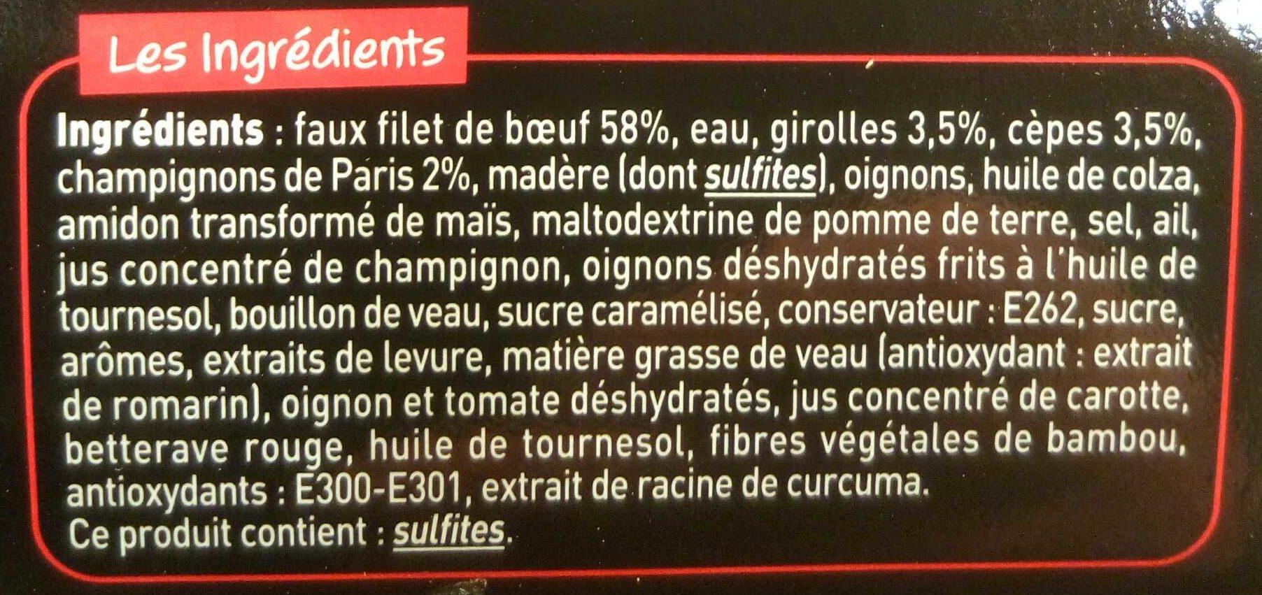 Noix de Faux-Filet Cuisinée Sauce Forestière - Ingrédients - fr