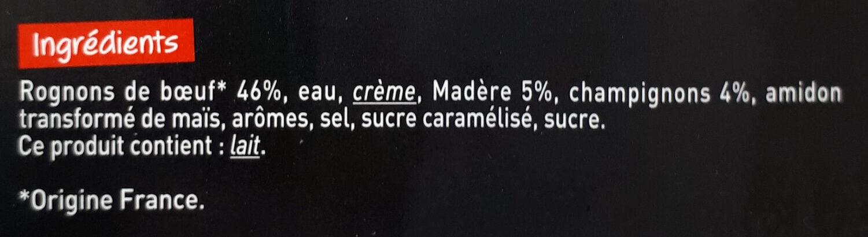 Rognons de boeuf sauce au vin de madère - Ingredients - fr