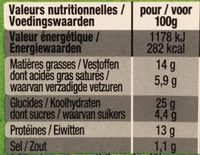 Le cheese burger bio - Nutrition facts