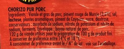 Chorizo fort - Ingrediënten