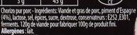 Les Cubes de Chorizo - Ingrédients - fr