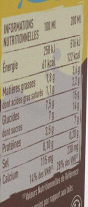 Mon premier cacolac - Informations nutritionnelles