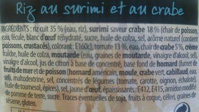 Riz Au Crabe, La Barquette De - Ingredients