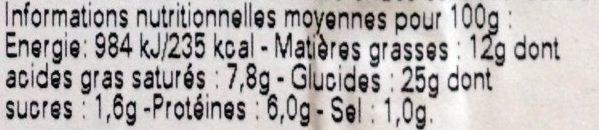 Feuilleté Provençal - Informations nutritionnelles