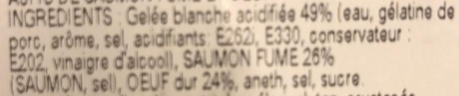 Aspics Œufs Dur Saumon Fumé x2 - Ingrédients