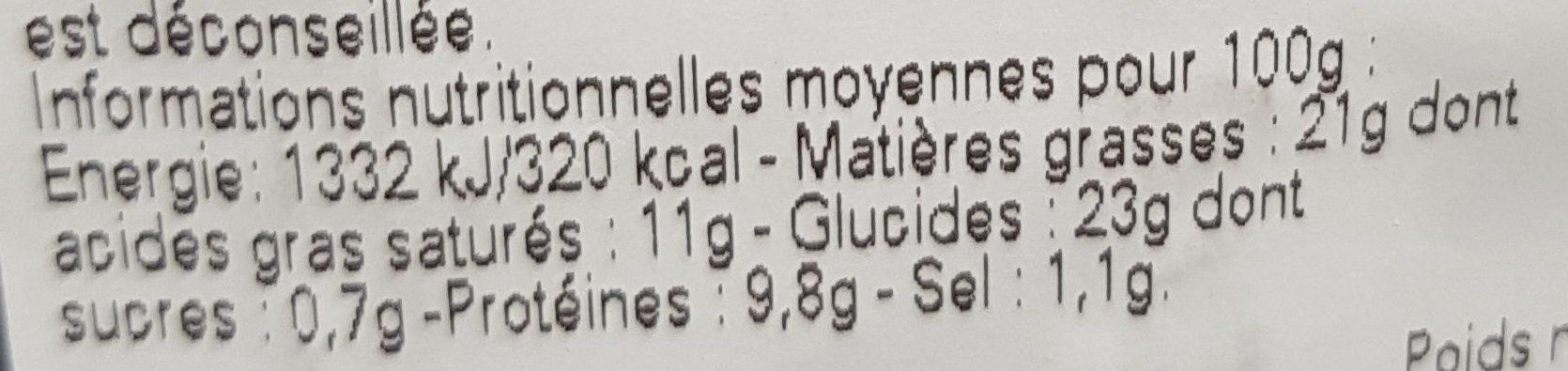 Quiche lorraine Stalaven - Nutrition facts