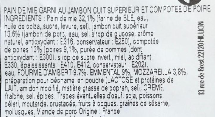 Croque à l'Auvergnate cuisiné à la fourme d'Ambert & aux poires - Ingredients - fr