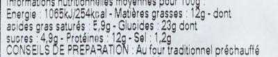 Croque à l'Auvergnate cuisiné à la fourme d'Ambert & aux poires - Nutrition facts - fr