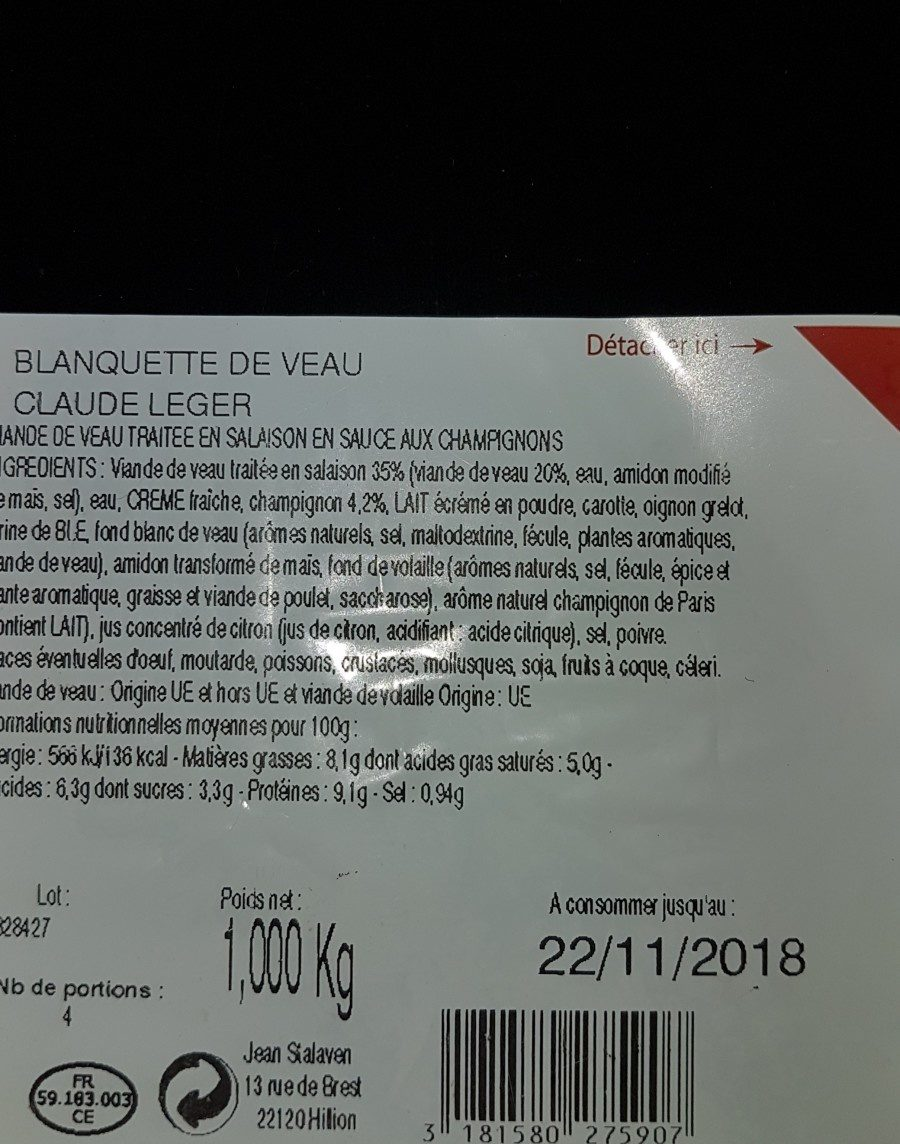 Blanquette de veau - Ingredienti - fr